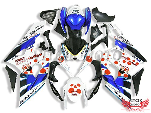 VITCIK (Fairing Kits Fit for Suzuki GSXR1000 K5 2005 2006 GSXR 1000 GSX R1000 K5 05 06) Plastic ABS Injection Mold Complete Motorcycle Body Aftermarket Bodywork Frame (Blue & White) A085