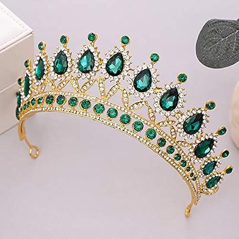 Shang Fei Couronne de Mariage Vert Coiffe de mari/ée et la mari/ée Couronne Pageant beaut/é Couronne Couronne Couronne Bijoux Accessoires Cheveux Metal Color : Green