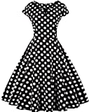 Ayli Women's Sweetheart Neck Short Sleeve Black White Polka Dot 50s Vintage Midi Dress, XL - 02w024