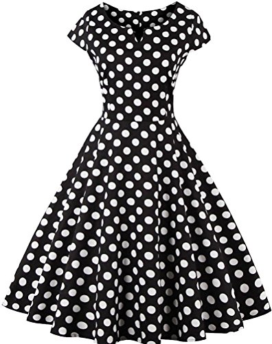 Ayli Women's Sweetheart Neck Cap Sleeve Black White Polka Dot 50s Midi Dress, - 50s Polka Dot