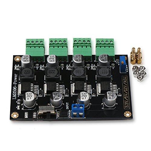 - DROK DC-DC 5-40V to 3.3V 5V 12V ADJ Adjustable Step Down Voltage Regulator, LM2596 4-way Multiple Output Switching Power Supply Module Board, 5A Buck Volt Converter Transformer Stabilizer