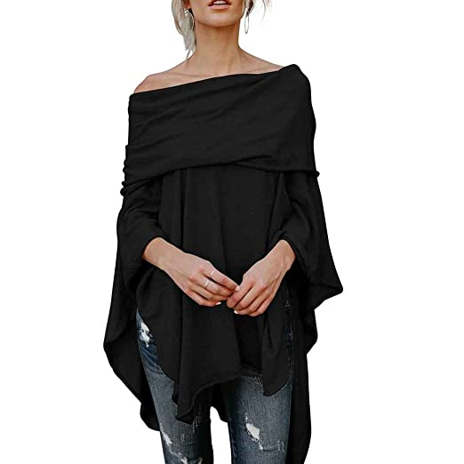 d106e2207bfa5f Image Unavailable. Image not available for. Color  MuLuo Women Casual Off  Shoulder Handkerchief Irregular Hem Side Slit High Low Tunic Shirt Tops