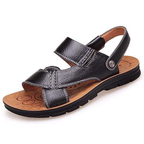 Uomini sandali Uomini vera pelle Il nuovo Spiaggia scarpa gioventù estate tendenza alunno sandali Tempo libero scarpa ,nero,US=8.5,UK=8,EU=42,CN=43