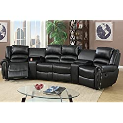 5pcs Black Bonded Leather Reclining Sofa Set Home Theater Sectional Sofa Set with Two Center Consoles