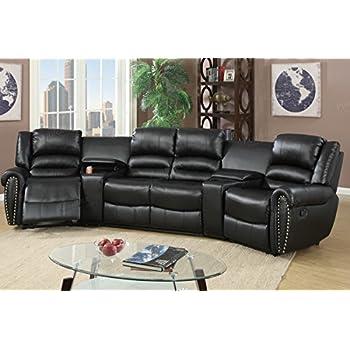 Amazon Com 5pcs Black Bonded Leather Reclining Sofa Set Home