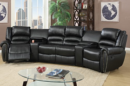 - 5pcs Black Bonded Leather Reclining Sofa Set Home Theater Sectional Sofa Set with Two Center Consoles