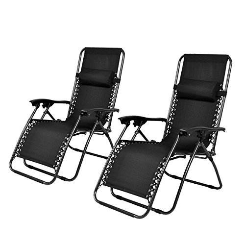 Giantex 2pc Zero Gravity Chairs Lounge Patio Folding Recliner Outdoor Yard Beach Black (Black Folding Recliner)