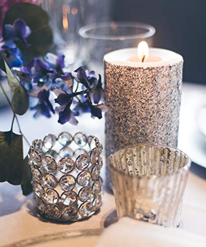 Silver Glitter Pillar Candle Wedding & Party Decor - Choose 4, 6, 9 Inches -