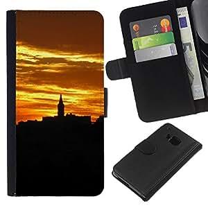 WINCASE Cuadro Funda Voltear Cuero Ranura Tarjetas TPU Carcasas Protectora Cover Case Para HTC One M9 - alivio de la arquitectura de la ciudad de oro