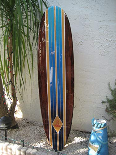 (Solid wood wall hanging decorative surfboard for a Hawaiian beach surfing decor Easter Island by Tiki Soul)