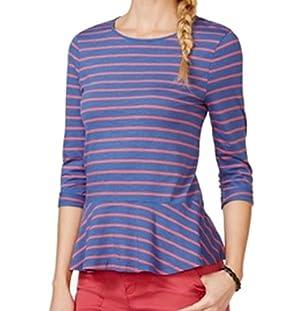 American Living Women's Striped Peplum Knit Top Blue XL