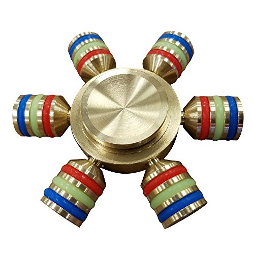 New Gold Heavy Metal Fidget Spinner for Stress Relief Focus Handheld Toy- ADHD Anxiety Boredom Reducer – 2 Minute Plus Spin Time! Red White Blue