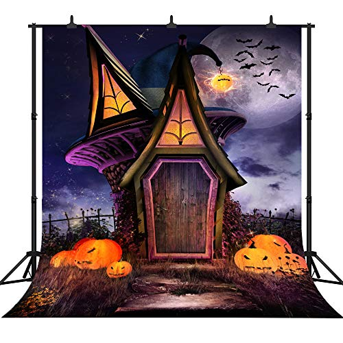 DePhoto 10X10FT(300X300CM) Halloween Theme Witch Hut Pumpkin Lantern Customized Seamless Vinyl Photography Backdrop Photo Background Studio Prop -