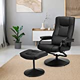 Giantex Massage Recliner Chair w/Ottoman, 360 Degree Swivel PU Leather Chair w/Footrest, Lounge Armchair w/Overstuffed Padded Seat and Leather Wrapped Base, for Home Office Living Room(Black)
