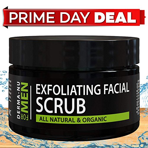 Exfoliating Facial Scrub for Men By Derma-nu - Unclogs Pores, Fights Acne and Prevents Ingrown Hairs - Natural & Certified Organic Ingredients - (Ingrown Facial Hair)