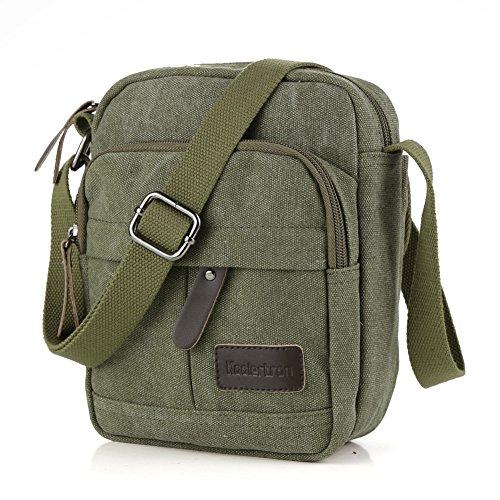 Koolertron Vintage Canvas Crossbody Shoulder Bag Lightweight Small Satchel Bag For Men & Women (Green, 6.88