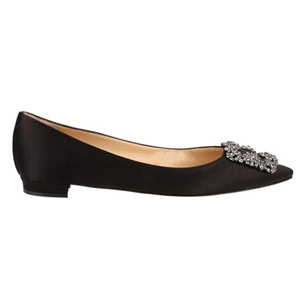 Caitlin Pan Damen Klassische Diamant High Heels Satin Spitzschuh Diamant Klassische Stilettos Slip on Pumps schwarz-flat 108ace