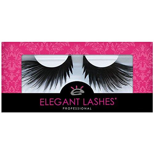Drag Queen Performance Costumes (Elegant Lashes F879 Premium Black Feather False Eyelashes Halloween Dance Rave Costume)