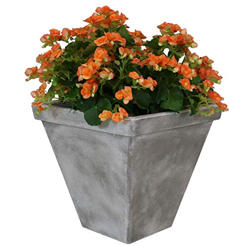 (Sunnydaze Hamilton Outdoor/Indoor Planter Pot, Heavy-Duty Double-Walled Polyresin with UV-Resistant Antique Quarry Finish, Single, 16-Inch)