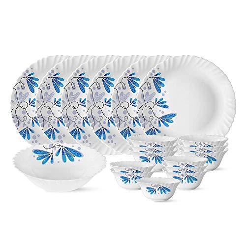 (Renewed) Larah by Borosil Twilight Silk Series Opalware Dinner Set, 19 Pieces, White
