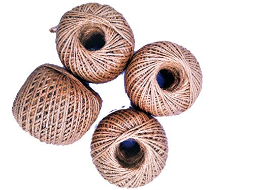 AAYU Jute Twine String Ball | 4 Large Balls Value Pack | 4 Ply (1360 Feet Total) | Eco-Friendly Natural Rope for DIY, Arts and Crafts, Gift Wrapping, Bundling, Gardening, Packing String ()