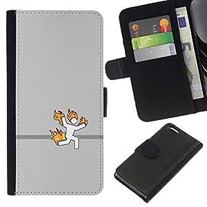 KLONGSHOP // Tirón de la caja Cartera de cuero con ranuras para tarjetas - Stick Man On Fire divertido - Apple Iphone 5C //