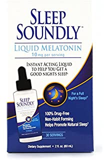 Sleep Soundly Liquid Melatonin 10mg, Instant Acting Sleep Formula, 30 servings