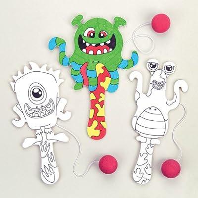 Paletas de Monstruos alienígenas para Colorear a Precios de ganga, niños pasen Horas de diversión Jugando y como Regalo para Bolsas Sorpresa (Pack de 5).