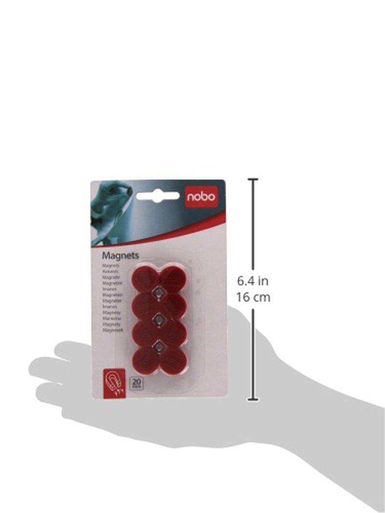 Rosso 1901442 Magneti Rotondi in Plastica Nobo Confezione da 8 20 mm