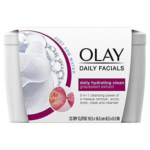 Olay Daily Clean 4-in-1 Water Activated Cleansing Cloths Tub, 33 Count  Packaging may Vary