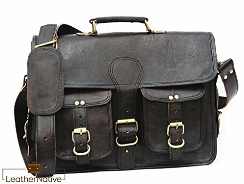 (Leather Messenger Bag Courier Satchel - 15 inch Handmade, Takes a Small Laptop or iPad - Handsome Black Patina Improves with Age, Retro Looks with Brass Fittings - Crossbody Fit for Men and Women)