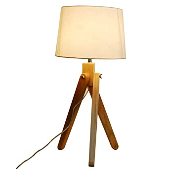192411e8899e Image Unavailable. Image not available for. Color: Wood Table Lamp Desk Lamp,  Office Reading Light With White Linen Lampshade