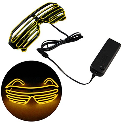 THEE Flashing LED Light up Slotted Shutter Sunglasses Eyewear Shades Party - Yellow Shades Shutter