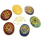 Healing Crystals India 7 Piece Engraved Chakras Stones Palm Stone Crystal Reiki Healing with One Pouch by Healing Crystals India