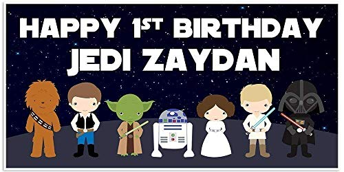 (Star Wars Jedi Little Characters Personalized Banner)