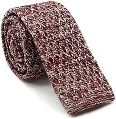 Elviros Mens Eco-friendly Marled Silk Skinny Knit Tie 2.4'' ( 6cm )