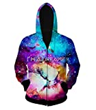 FSLP Men's 3D Print Zip-Up Hip-Hop Hoody Jacket Galaxy Sky