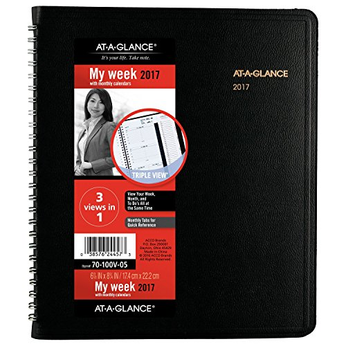 "AT-A-GLANCE Weekly / Monthly Appointment Book / Planner 2017, Tabbed, 6-7/8 x 8-3/4"", Black (70-100V-05)"
