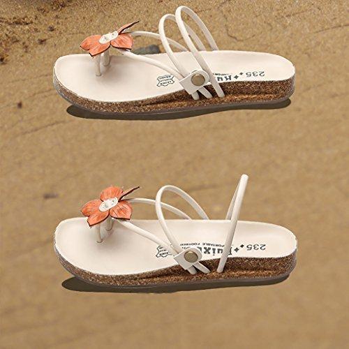 PENGFEI Chanclas de playa para mujer Sandalias planas Sandalias de playa verano Moda femenina Sandalias antideslizantes chancletas Beige y marrón Cómodo y transpirable ( Color : Beige , Tamaño : EU37/ Beige
