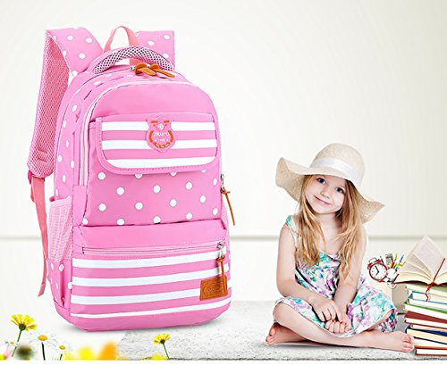 Zhhyltt Rucksack Lightweight Student Backpacks for Girls School Bags Pink