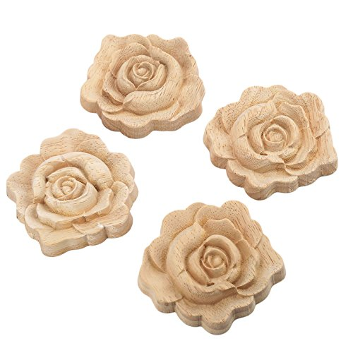 4pcs 7x7cm Wood Carved Corner Onlay Applique Door Cabinet Rose Unpainted European Style ()