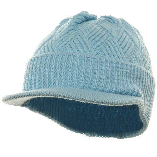 Acrylic Plain Beanie Visor-Baby Blue