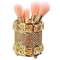 CY craft Gold Makeup Brush Holder,Brass Vintage Crystal Makeup Brush Organizer Handmade Cosmetic Brush Storage,Metal Eyebrow Pencil Pen Cup