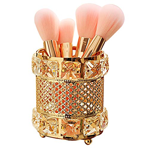 Gold Finished Holder Pen - CY craft Gold Makeup Brush Holder,Brass Vintage Crystal Makeup Brush Organizer Handmade Cosmetic Brush Storage,Metal Eyebrow Pencil Pen Cup