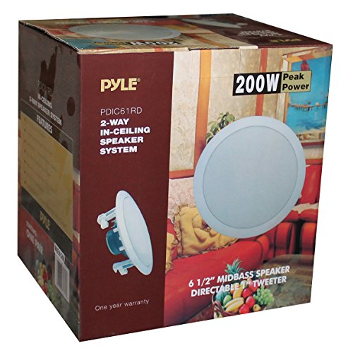 """6.5"""" Ceiling Wall Mount Speakers - Pair of 2-Way Midbass Woofer Speaker 1/2'' Polymer Dome Tweeter Flush Design w/ 70Hz-20kHz Frequency Response & 200 Watts Peak Easy Installation - Pyle PDIC61RD"""