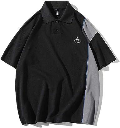 Usopu Camisa Polo de Cuello Redondo Suelto Color Block para Hombre: Amazon.es: Ropa y accesorios