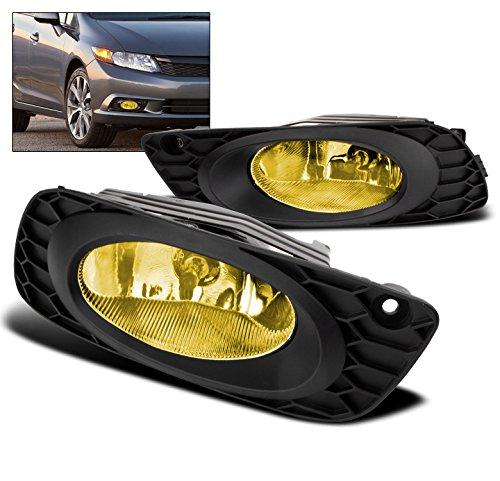 ZMAUTOPARTS Honda Civic Sedan 4Dr Bumper Driving Yellow Fog (Driving Yellow Lights)