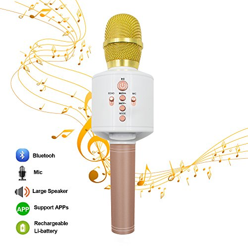 MODAR Wireless Bluetooth Karaoke Microphone for iPhone Android Smartphone PC iPad, Built-in Battery and Dual Speaker for Home Outdoor Party KTV Playing Singing Music (White) (Smartphone Speaker)