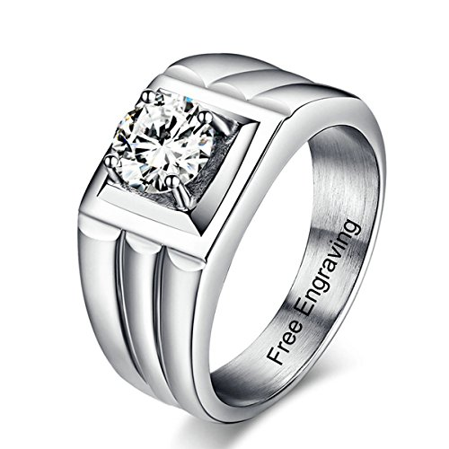 Engagement Ring Promise Ring For Men with 7.5MM Cubic Zirconia Engraving Customized & - Bands Customize