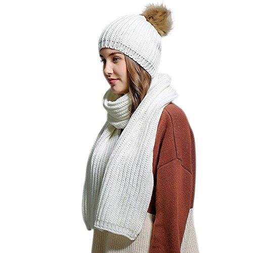 Winter Women Scarf Hat Set Knitted Skullcaps White - 3